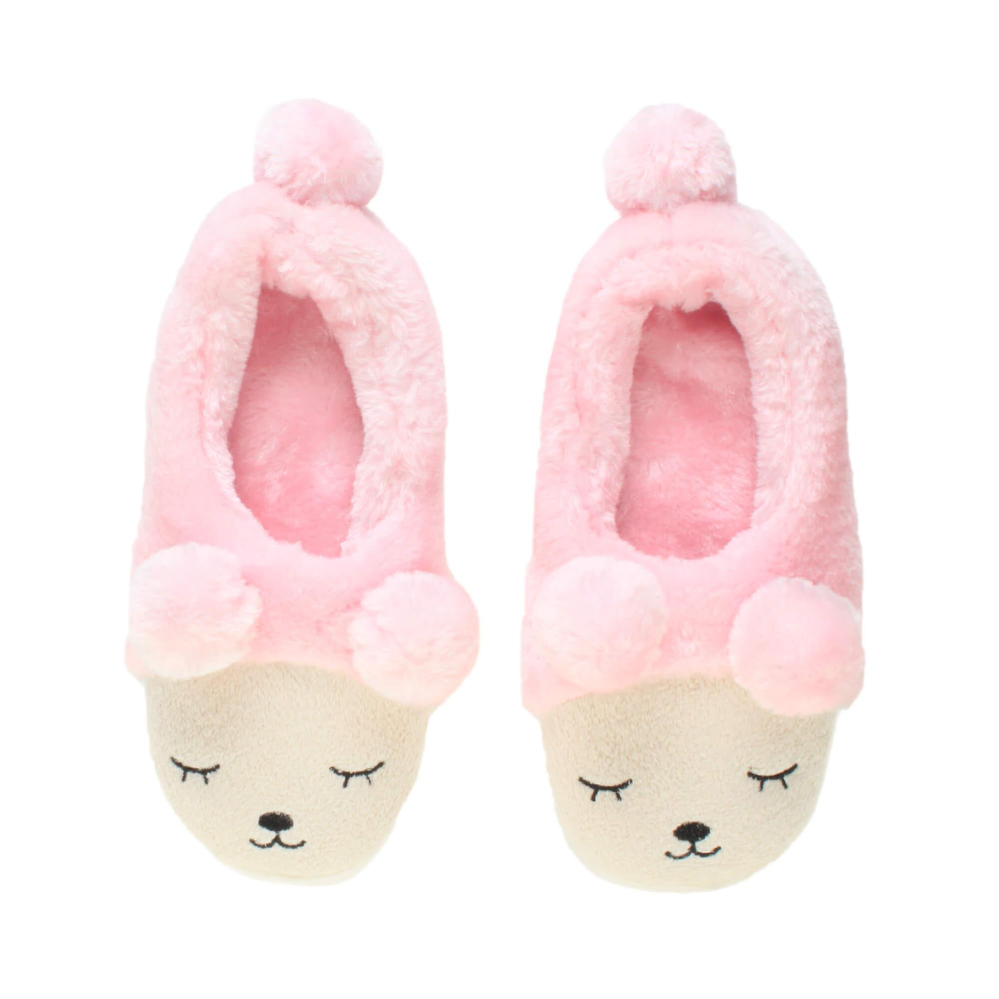 7f0adad5259a Ajvani womens winter fur lined pom pom novelty bear animal face slippers  house shoes