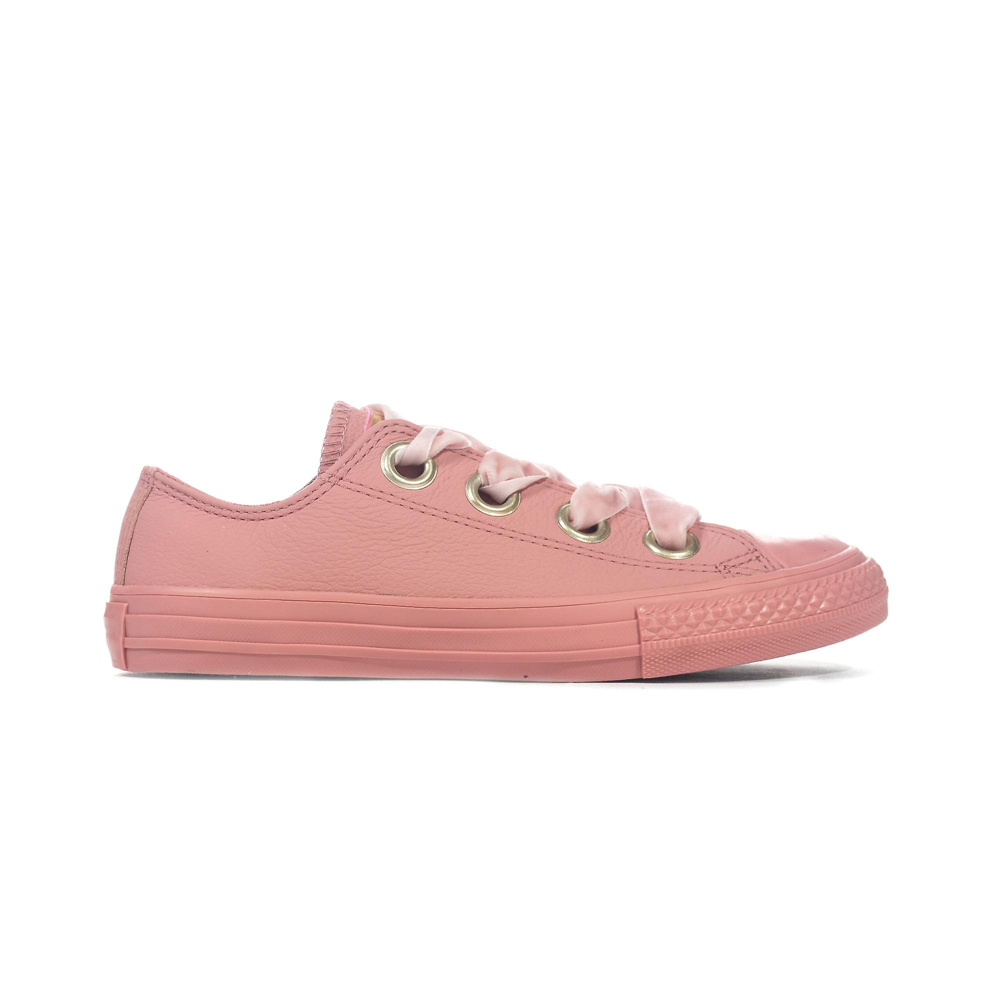 3bb643e77f2101 Converse Chuck Taylor All Star Big Eyelets Leather Ox Girls Trainer Rust  Pink