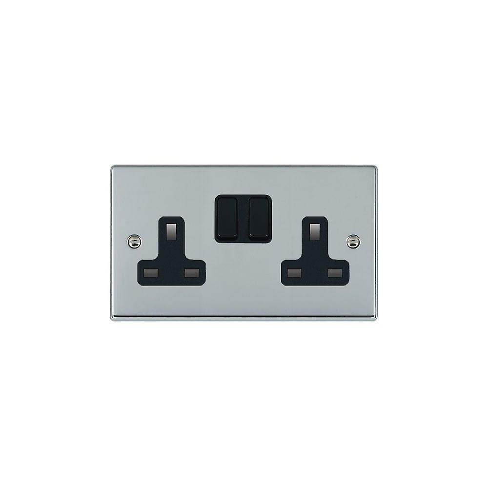 10 X Chrome Satiné Double//Twin Switched Socket Blanc Insert