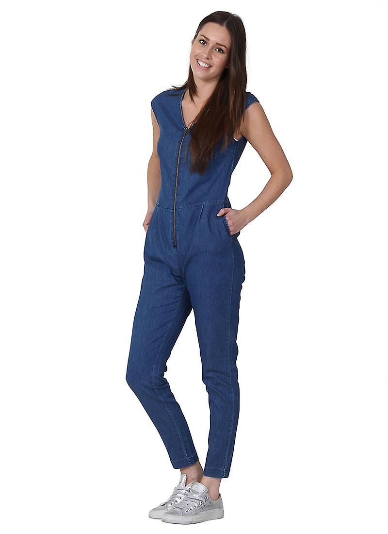 e6a48908c46 Click image to zoom. Womens Sleeveless Denim Jumpsuit Zip Front Lightweight  Playsuit one piece