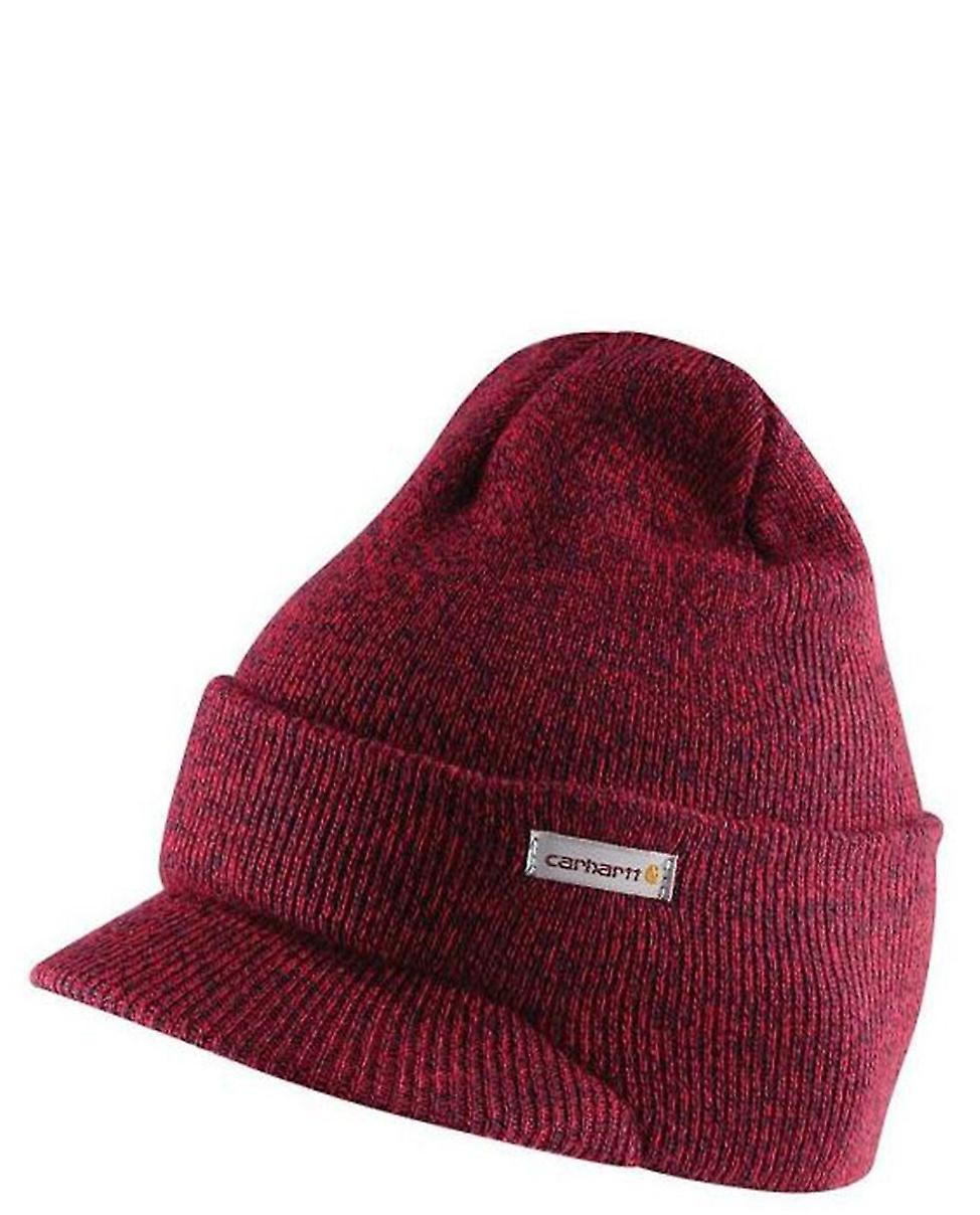 Carhartt Winter Hat with Visor - Red and Navy Mens Knit Beanie with Peak c4c6ea5242a