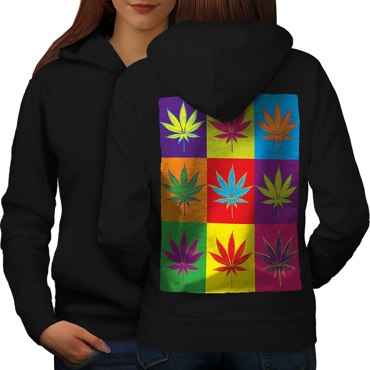 Blatt Rasta RückenWellcoda Weed Cannabis Frauen Blackhoodie OXPZiuk