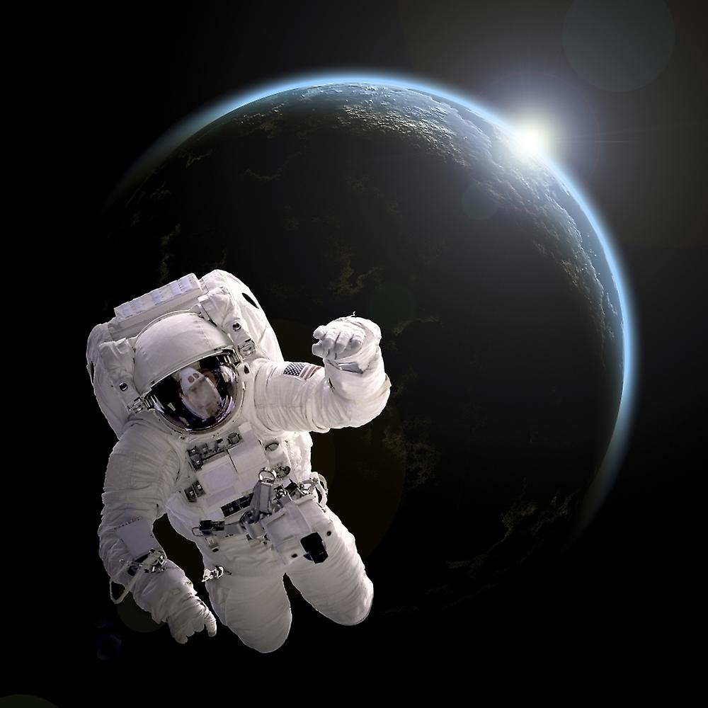 Artists Concept Of An Astronaut Floating In Outer Space An Earth
