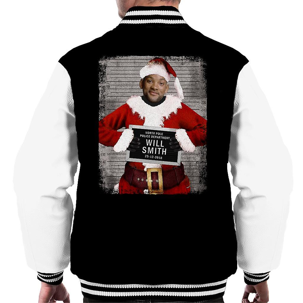 Will Smith Christmas Sweater.Christmas Mugshot Will Smith Men S Varsity Jacket