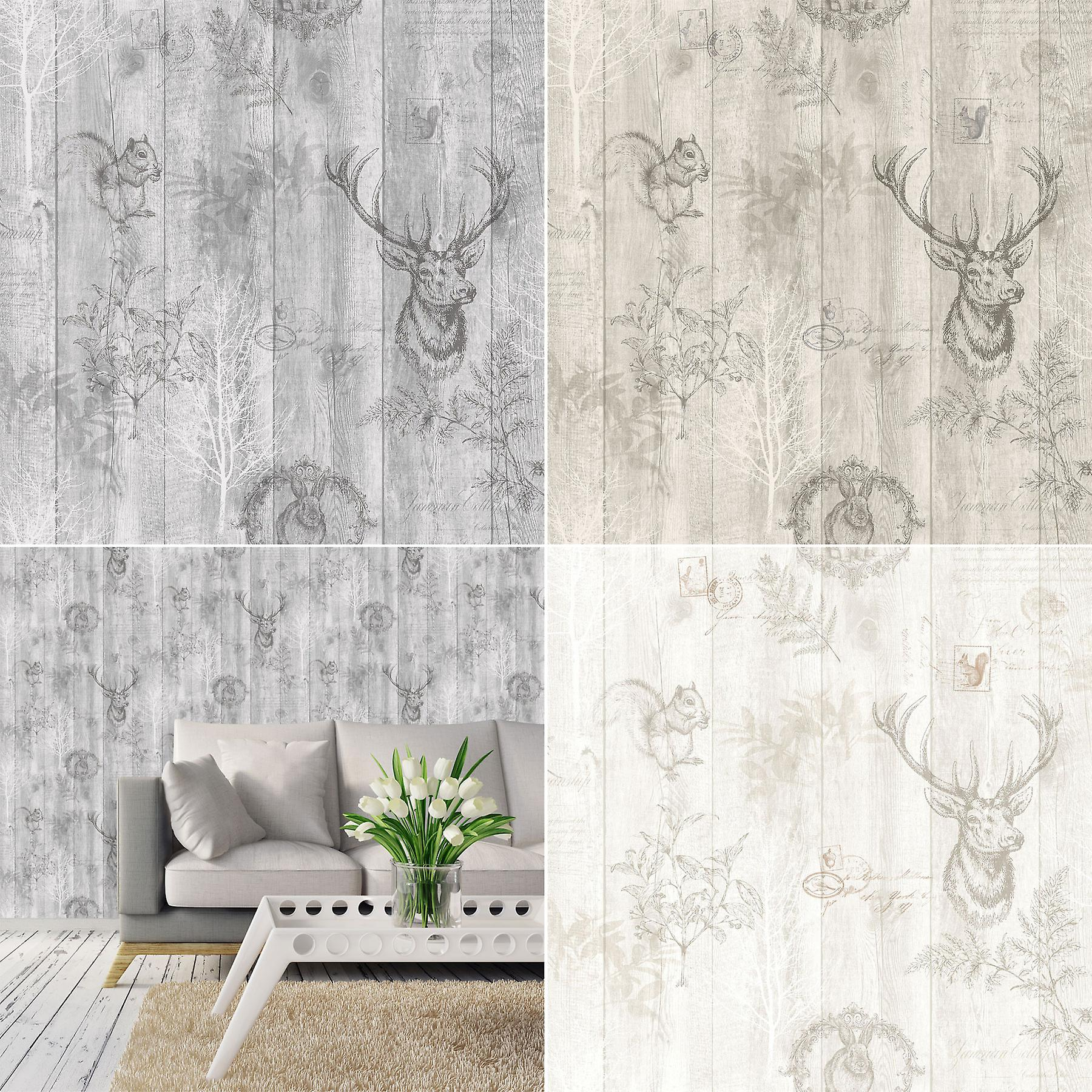 Stag Wood Panel Wallpaper Wooden Effect Grains Animal Print Trees