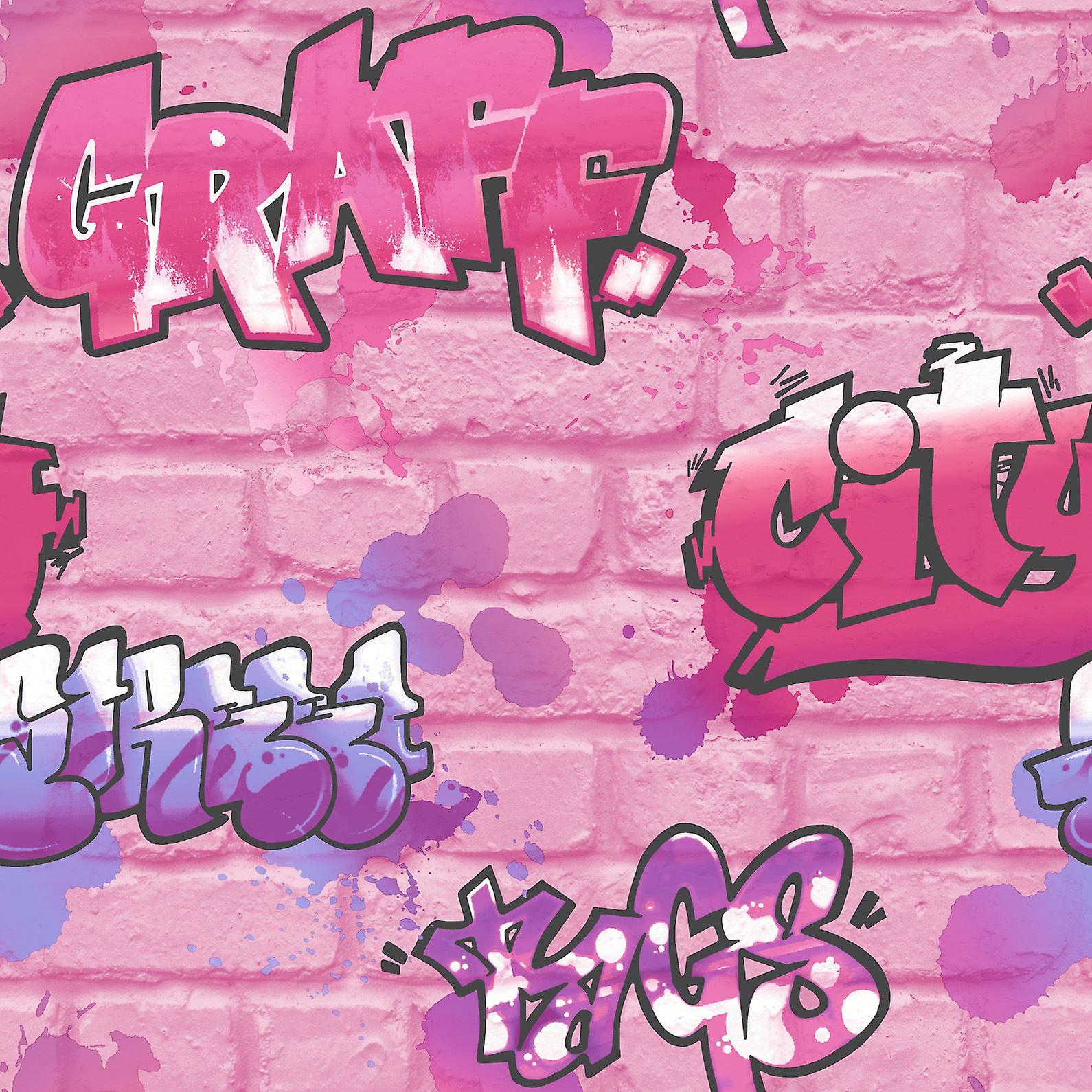 Girls Pink Graffiti Wallpaper Glitter Spray Paint Embossed Childrens Room Urban