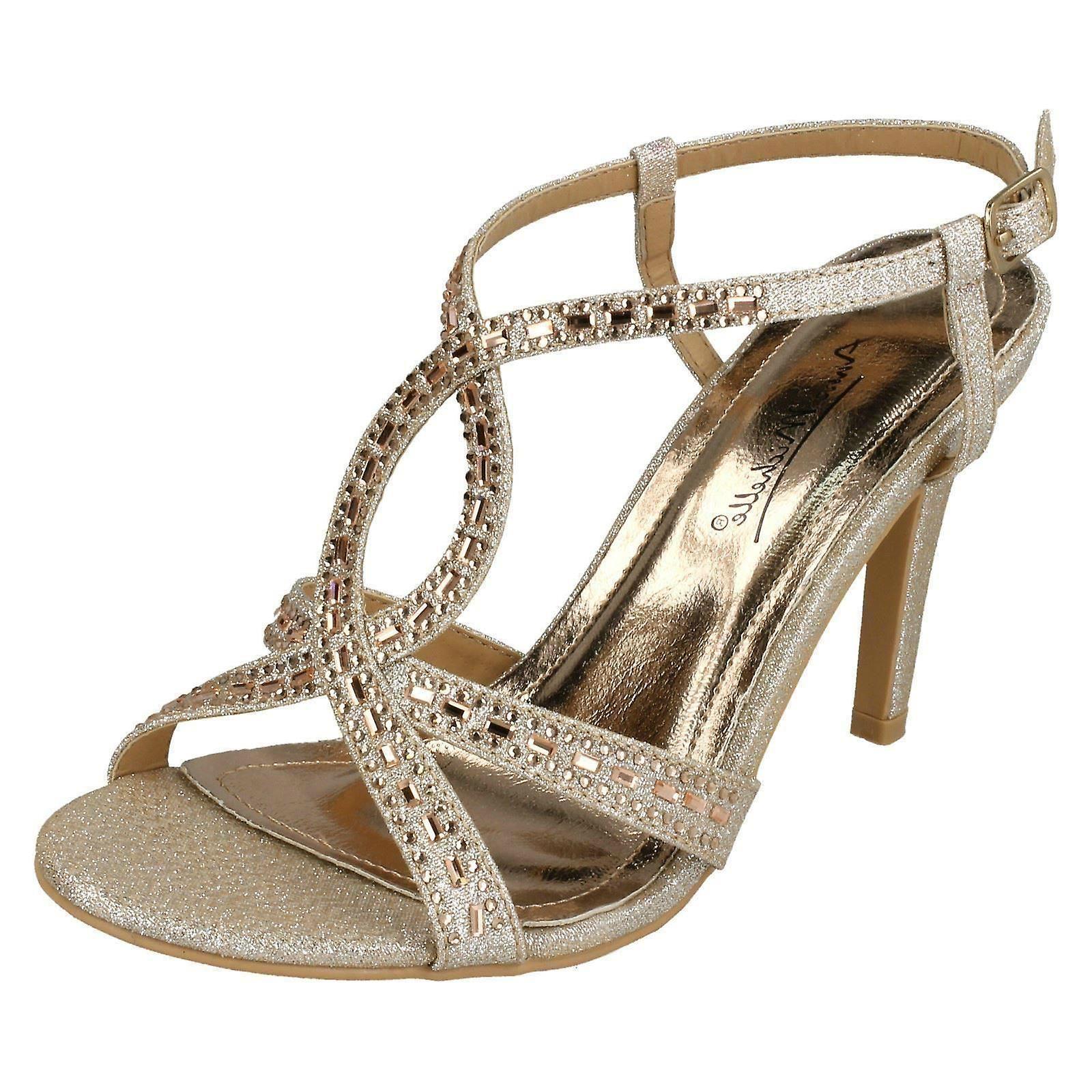 78f96ee624bd Ladies Anne Michelle Jewelled Strappy Sandals F10834 - Champagne Glitter -  UK Size 8 - EU