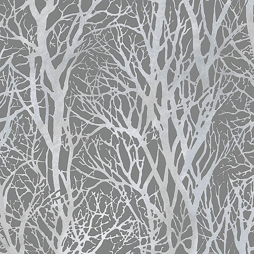 Silver Forest Trees Wallpaper Metallic Woodland Paste Wall Vinyl As Creation