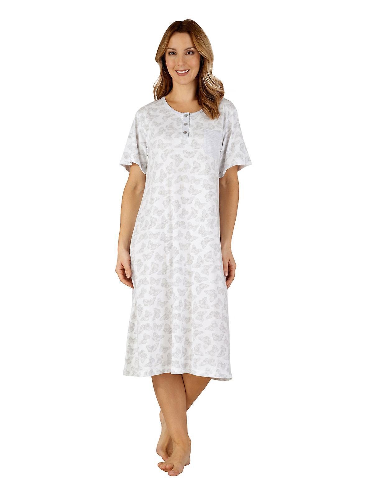 3aa9f948b Slenderella ND3127 Women s Cotton Jersey Grey Butterfly Night Gown  Loungewear Nightdress