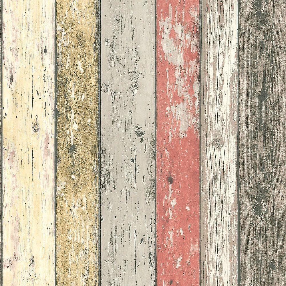 Wood Effect Wallpaper Distressed Wooden Grain Surf Beach Hut Vinyl