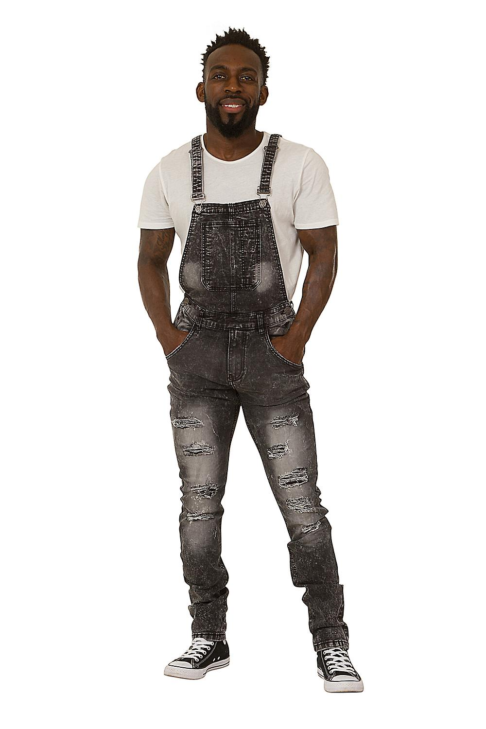 2c9f4b7711 Men s Bib Down Dungarees – Washed Black Denim Slim Fit Destroyed Denim  Overalls