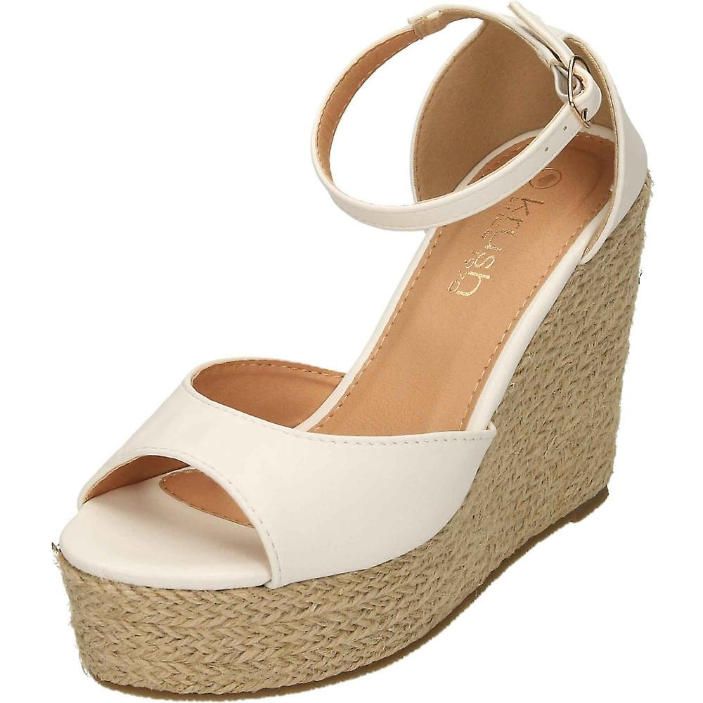 6f4390e65b69 Krush White Wedge Heel Ankle Strap Peep Toe Platforms