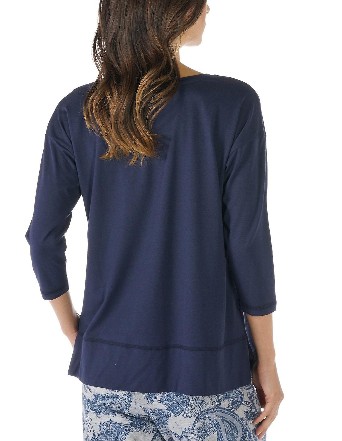 a08c0f7544 Mey 16806-408 Night2Day Nacht Blau einfarbig Pyjama 3/4 Ärmel Pyjama Top  Frauen