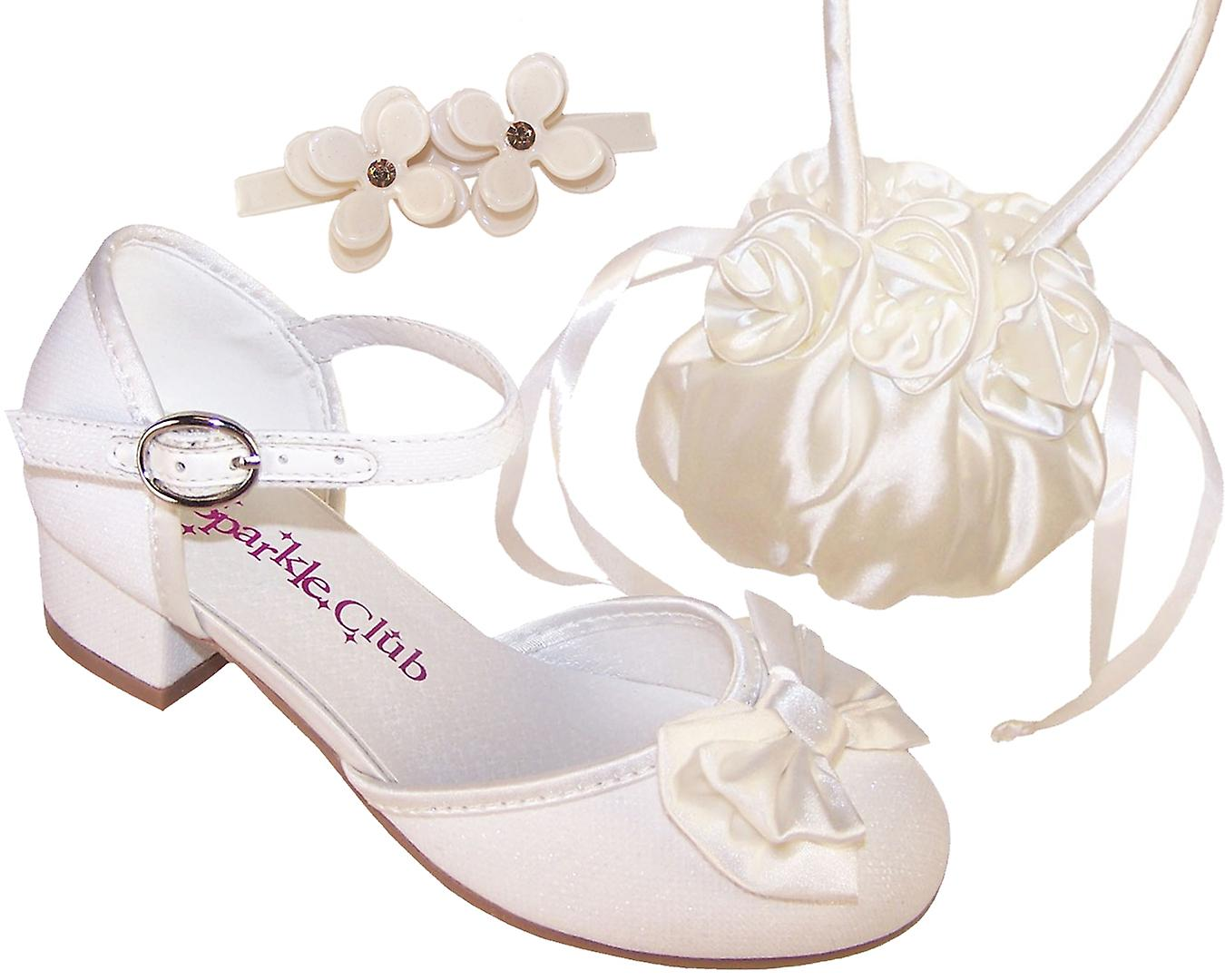 770ba07ccc4 Girls sparkly ivory flower girl bridesmaid shoes and bag