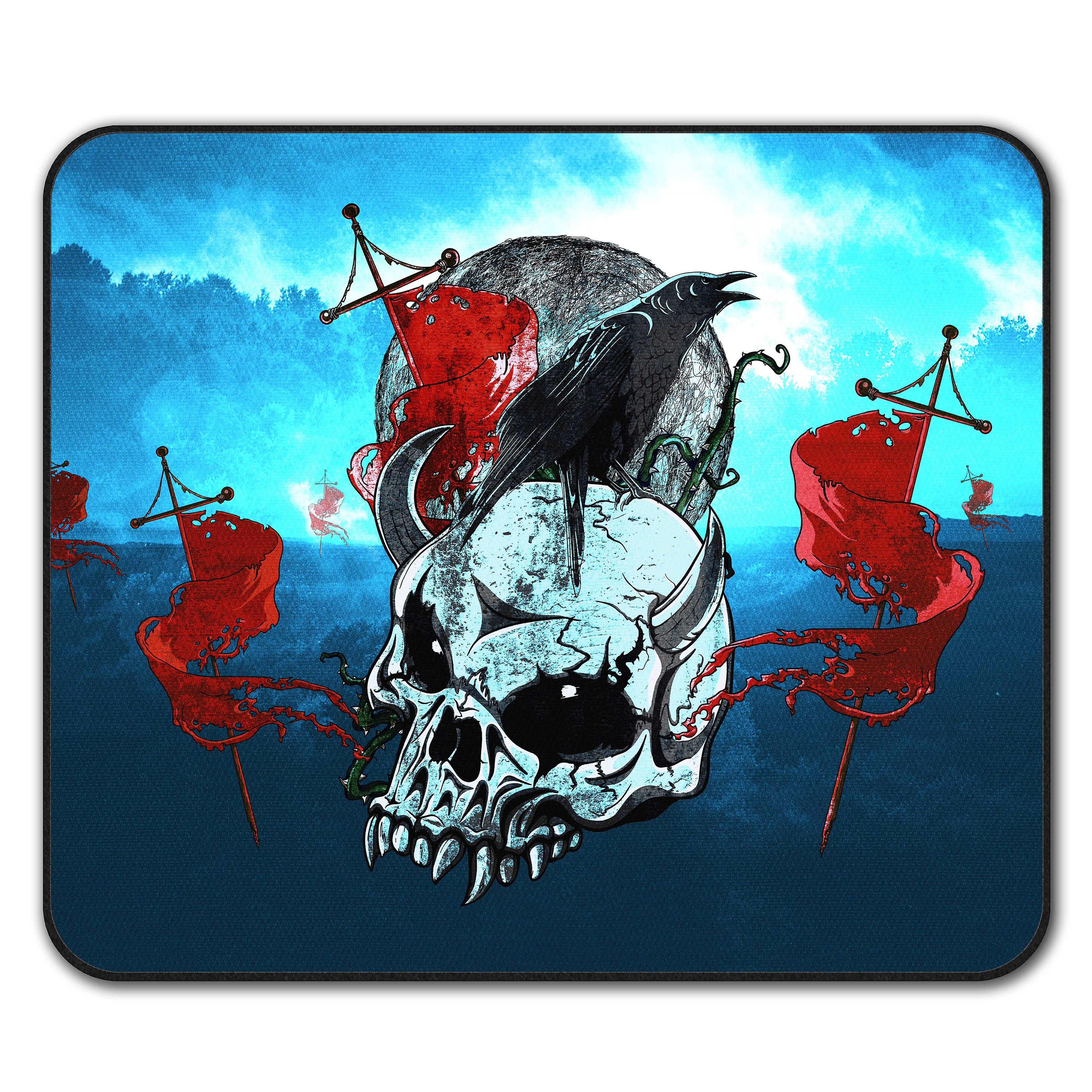 Crow Metal Scream Skull Non Slip Mouse Mat Pad 24cm X 20cm