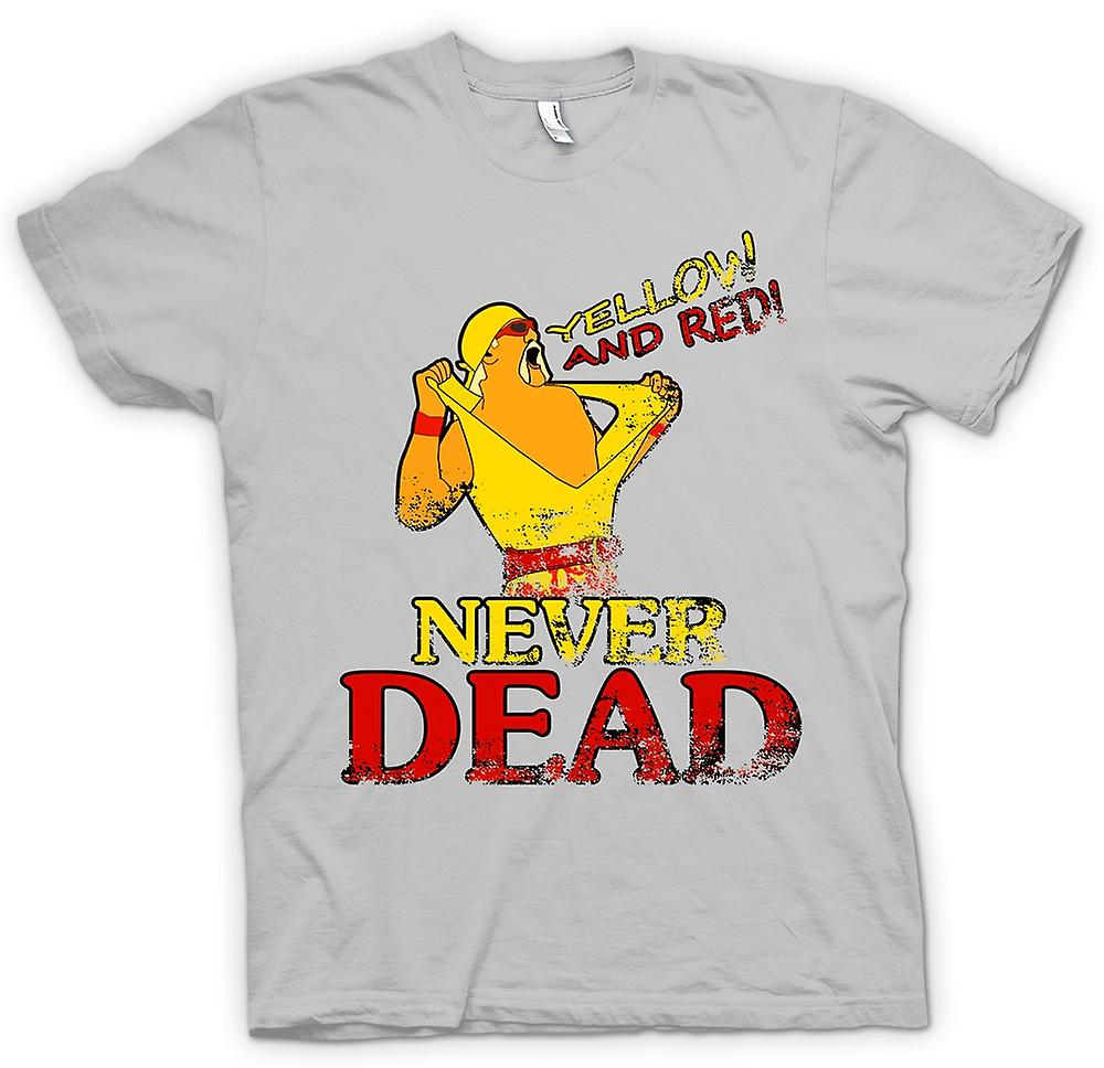 Mens t shirt hulk hogan yellow and red never dead fruugo for Hulk fishing shirts