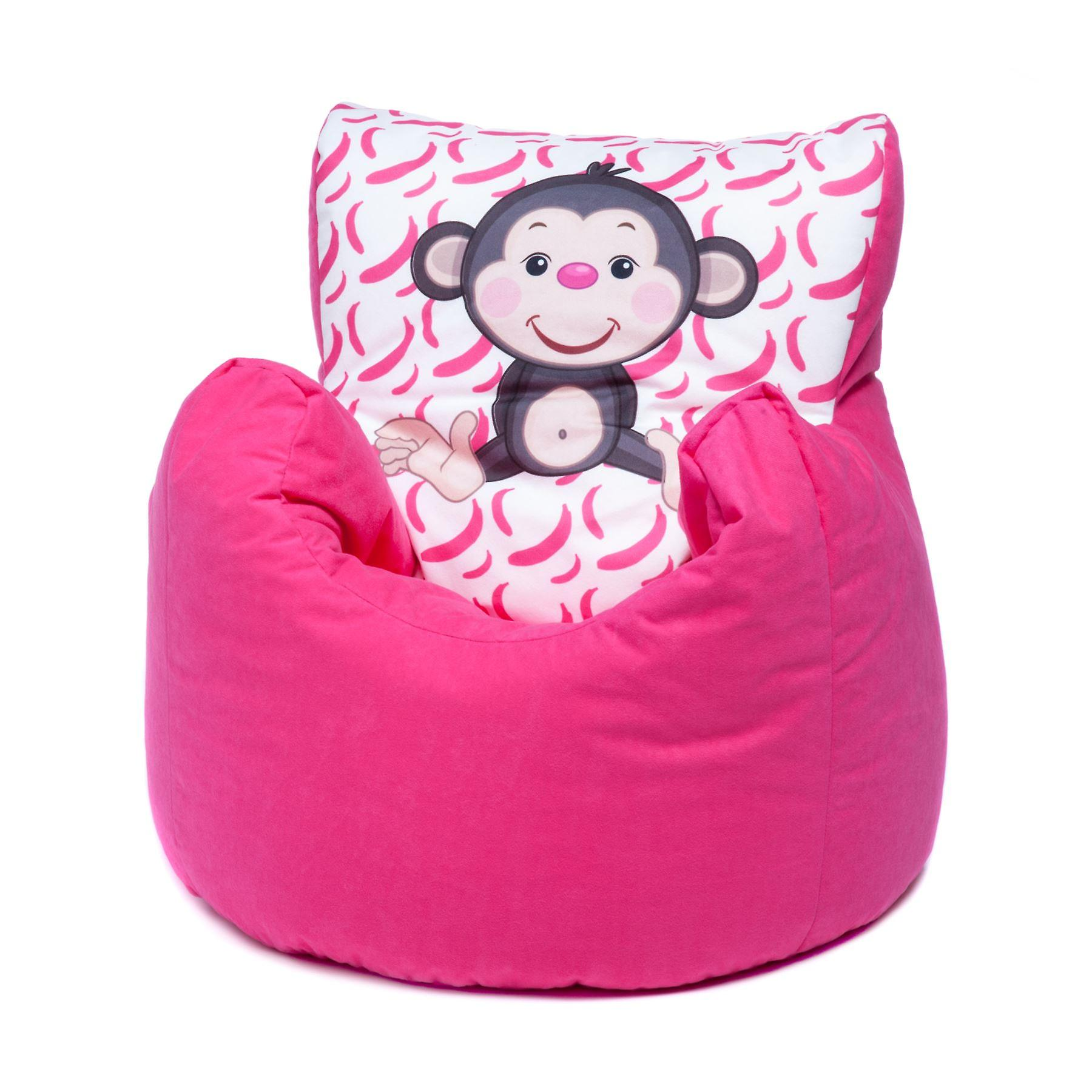 Pleasant Loft 25 Toddler Animal Print Soft Plush Bean Bag Chair Monkey Pink Ocoug Best Dining Table And Chair Ideas Images Ocougorg