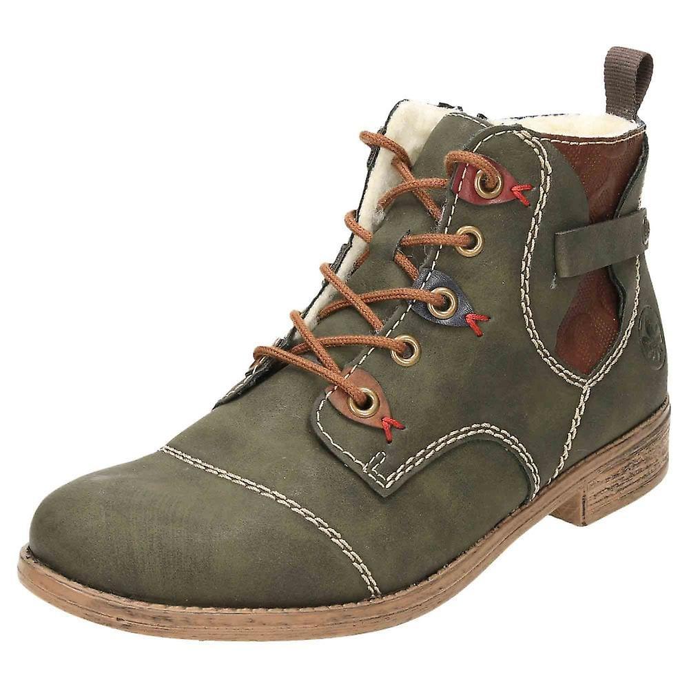 Rieker Chelsea Zip Lace Up Warm Flat Ankle Boots 77443 54