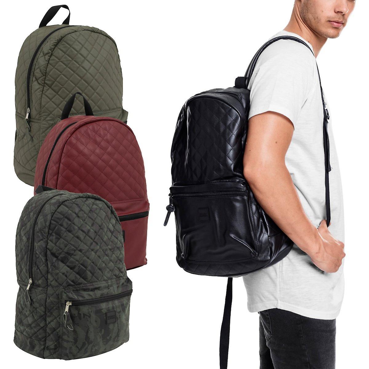 Urban classics - faux läder quiltat mönster ryggsäck väska  751d4721fb079