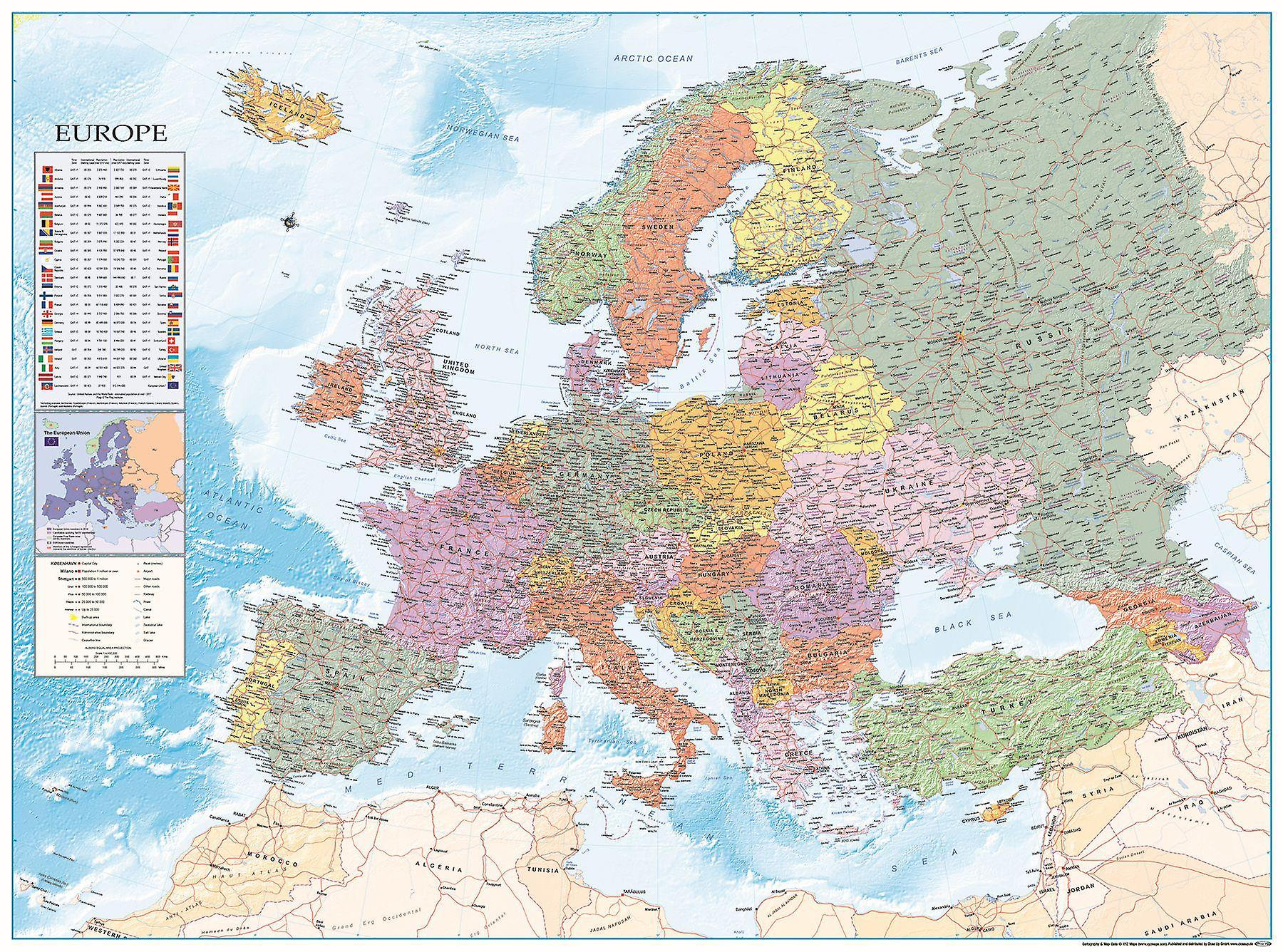 Kort Over Europa Xxl Plakat Flag Dansk 135 X 100 Cm Kaempe Plakat
