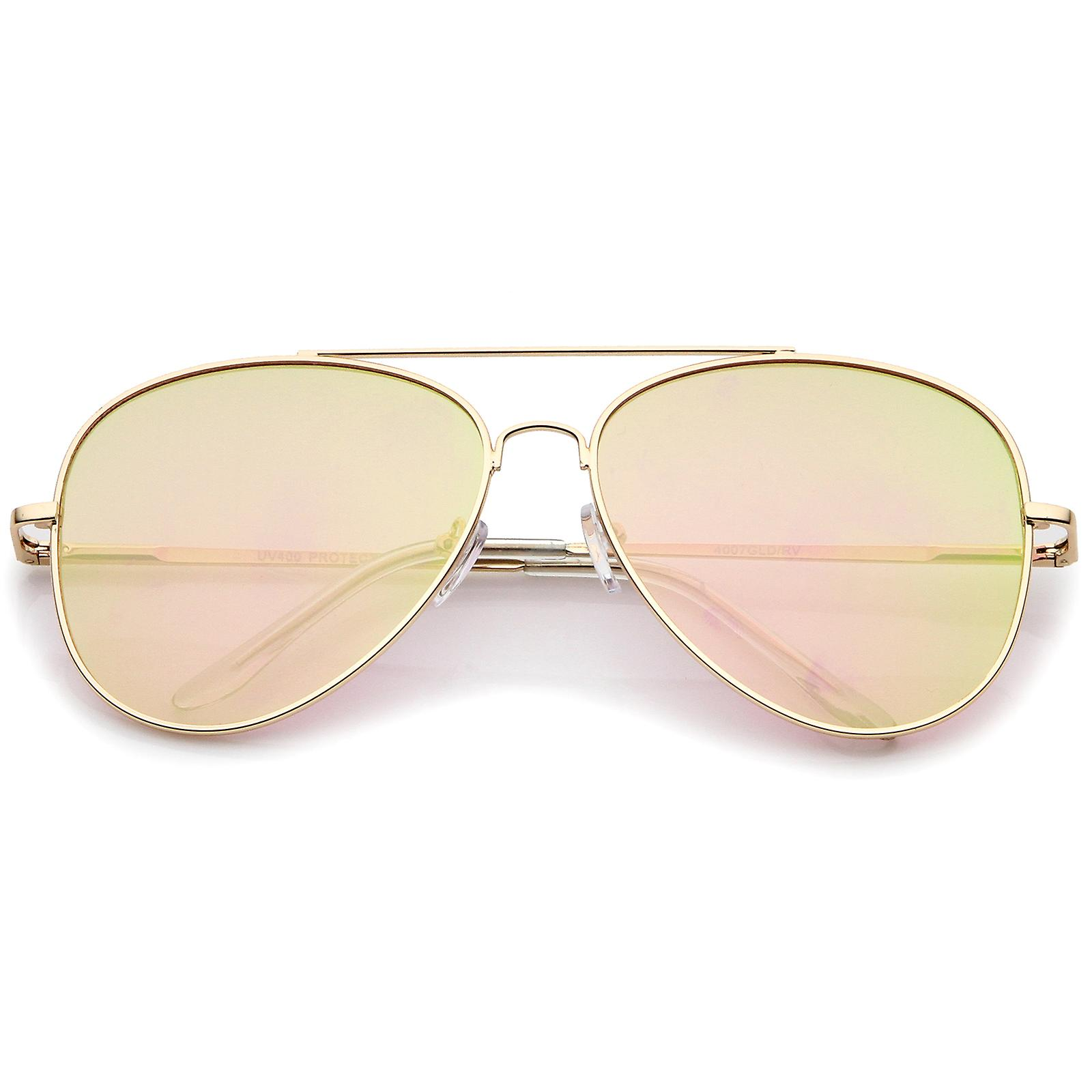 ded3a59f2 Large Metal Frame Colored Mirror Flat Lens Aviator Sunglasses 60mm ...