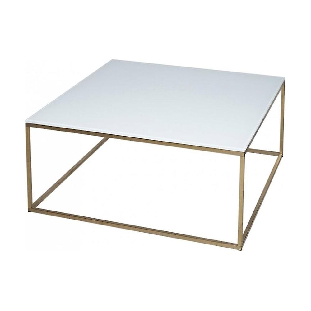 Gillmore Space White Glass And Gold Metal Contemporary Square