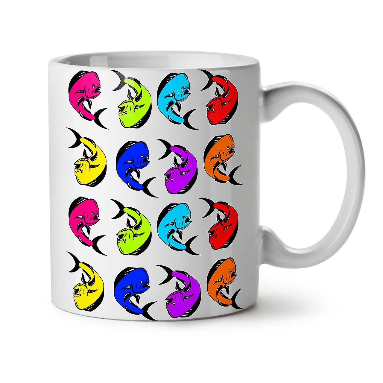 77940224 Mønster fisk kule dyr ny hvit te kaffe keramiske krus 11 oz   Wellcoda