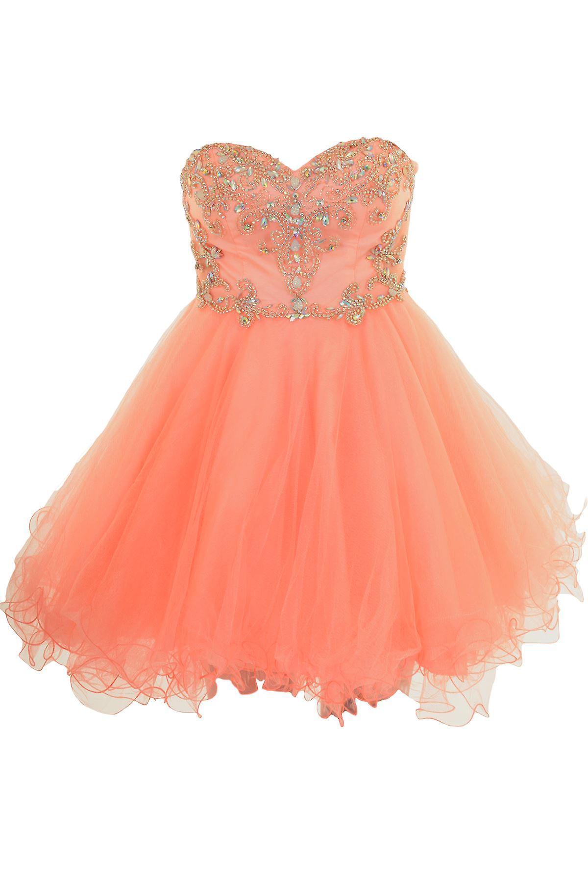 Kort Mini Boobtube Chiffon Puff Tutu Prom brudepike Mesh Cocktail Party kjole
