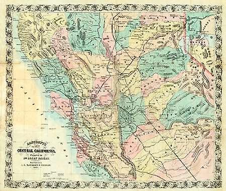 New Map of Central California 1871 Poster Print by AL Bancroft