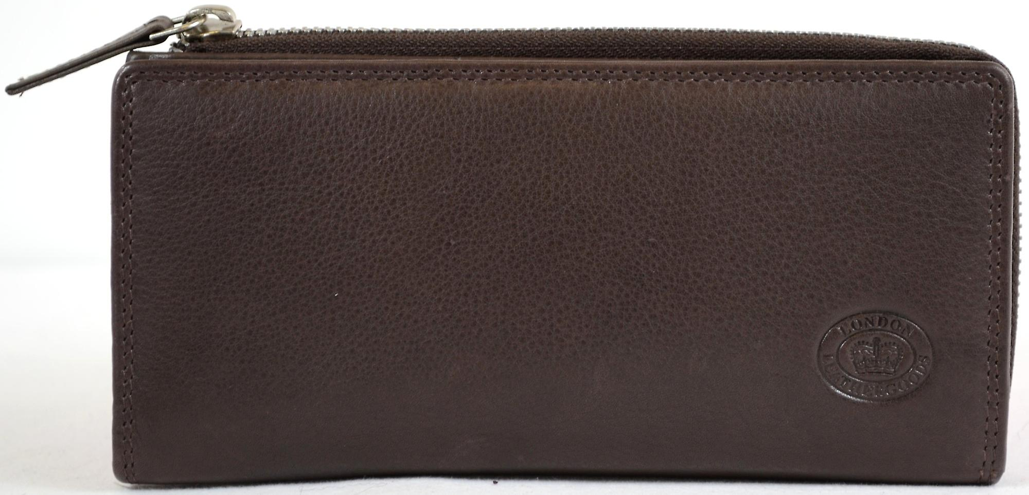 adc3901acd2 Ladies Large Soft Nappa Leather Matinee Purse with Multiple Credit Card  Slots and Pockets ( Brown