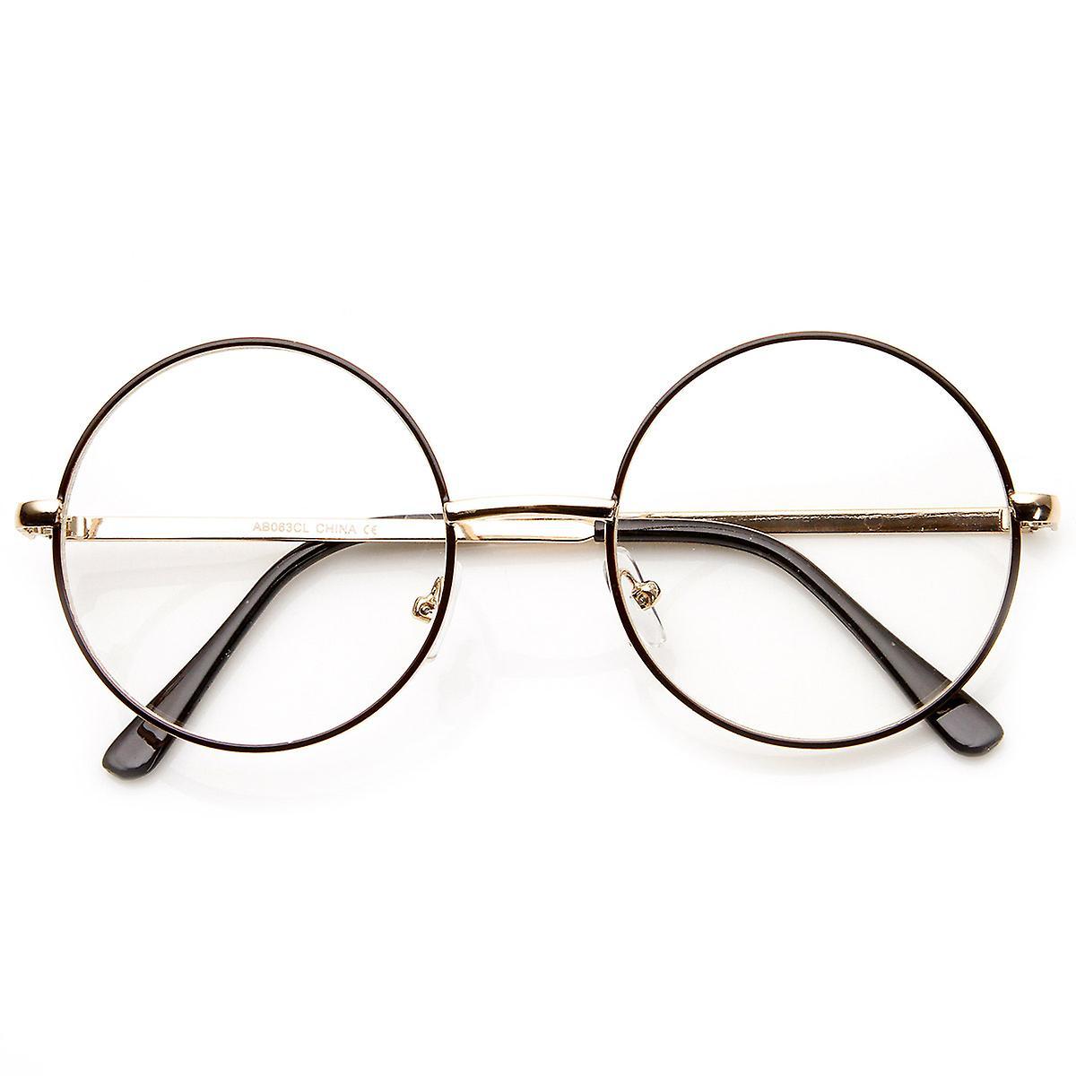 Lennon Mitte Größe Full Metal Frame klare Linse Runde Brille | Fruugo