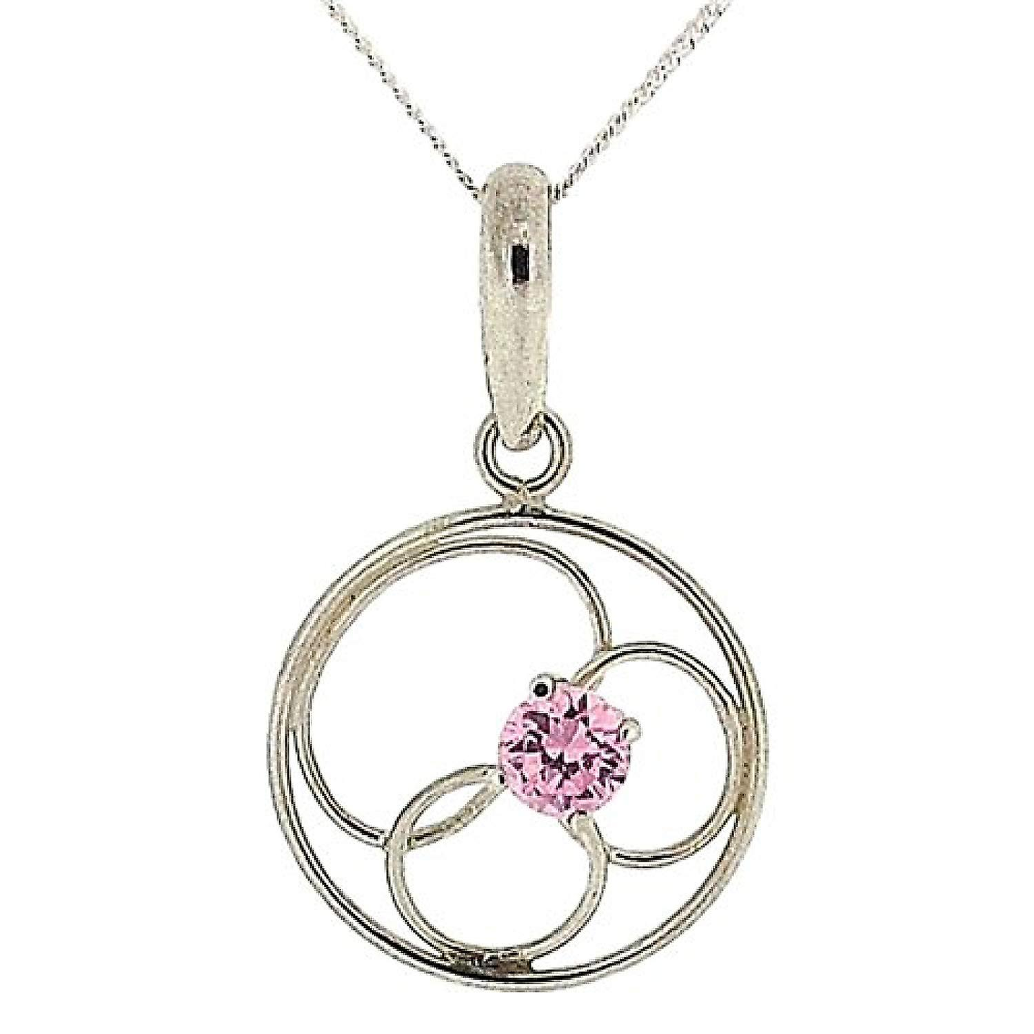 Sterling Silver Pink CZ Pendant
