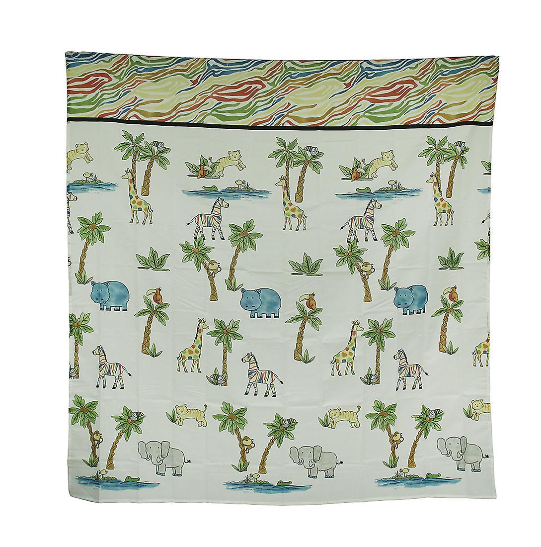 Blue Safari Hippo Rainbow Zebra Striped Fabric Shower Curtain 70 X 72 Inch