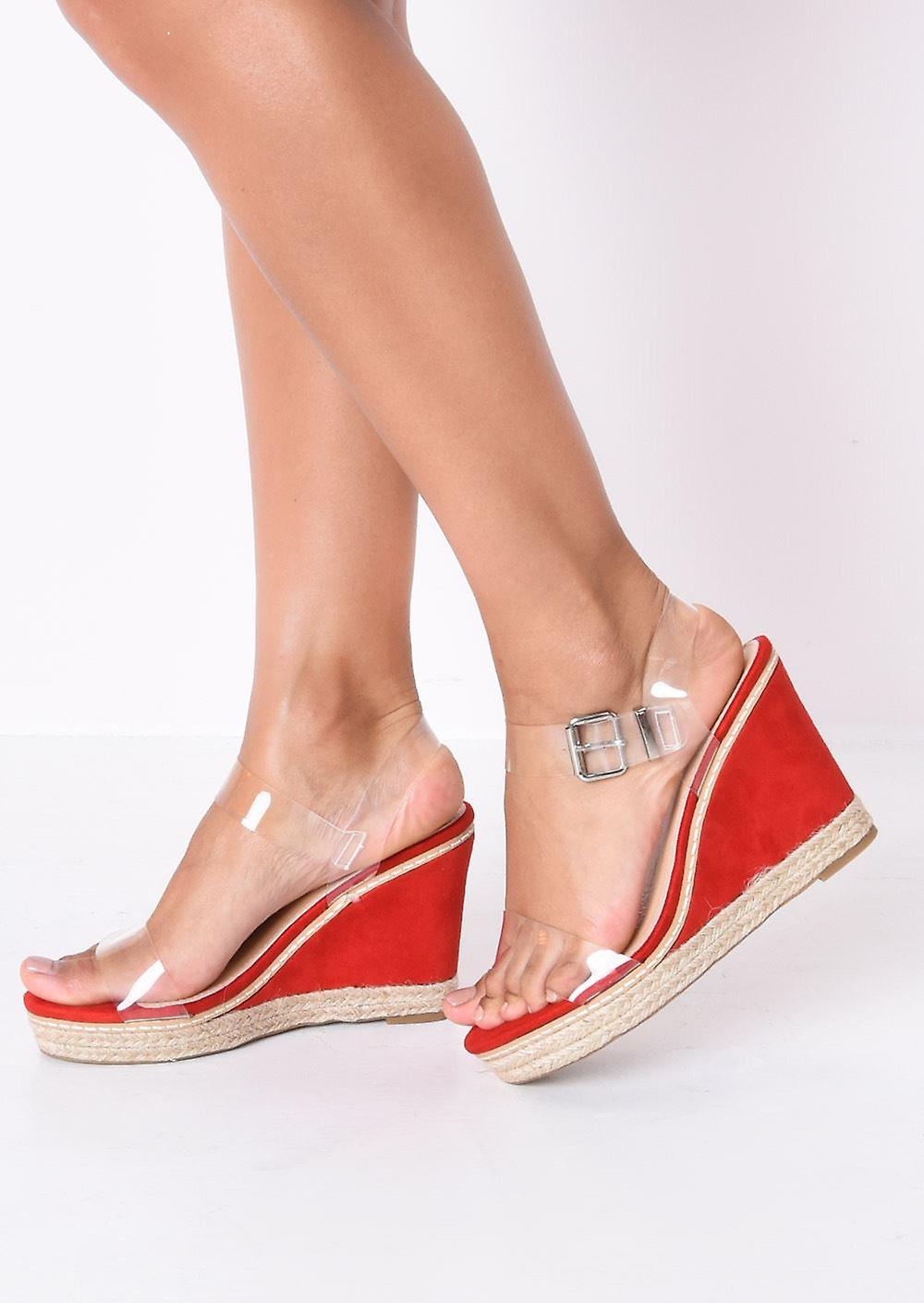 9edd21fbb03 Perspex Platform Espadrille Wedge Sandals Suede Red