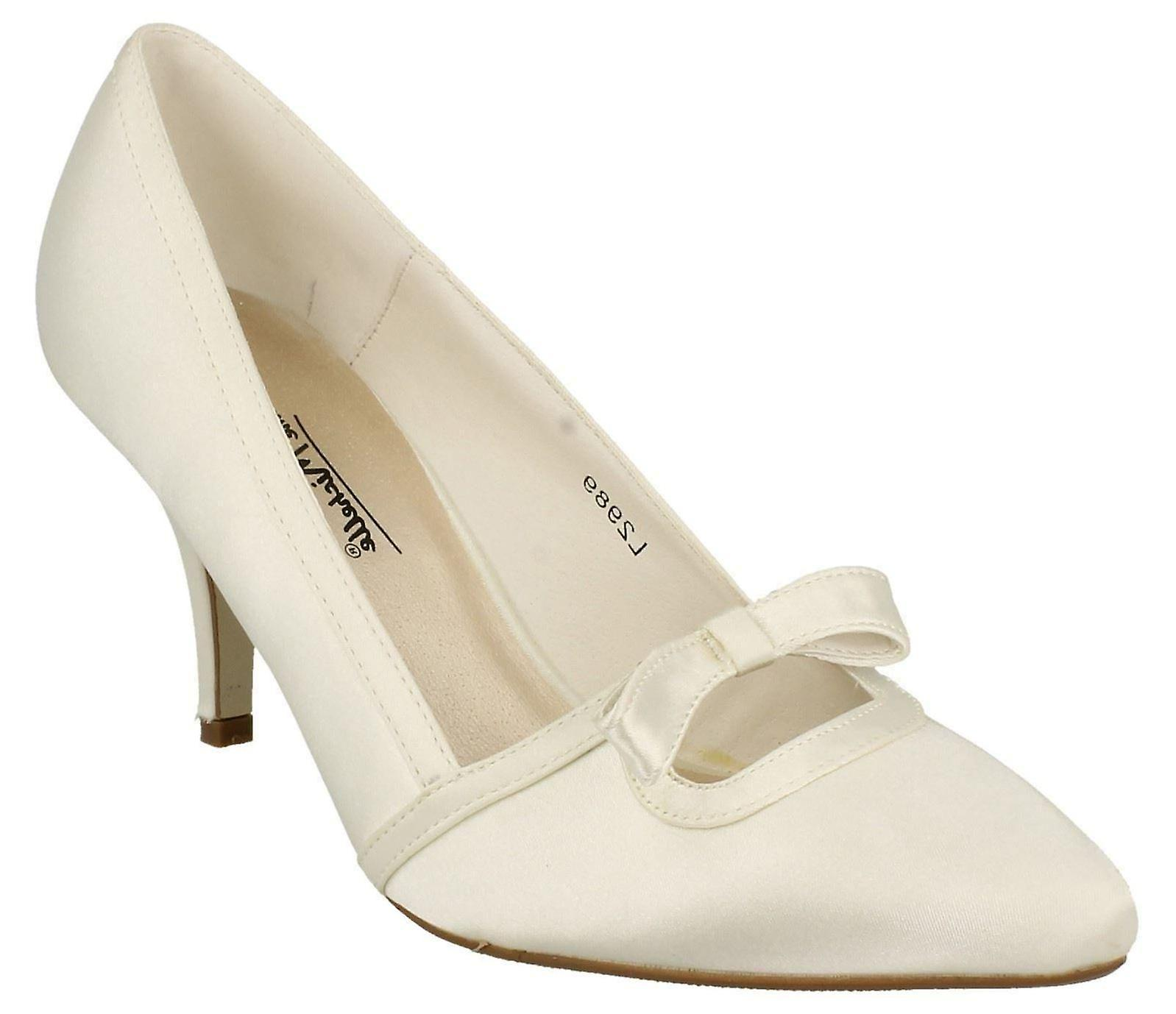 1a1c75126c9f Ladies Womens Ivory Satin Wedding Bridal Slip On Bow Courts Shoes ...