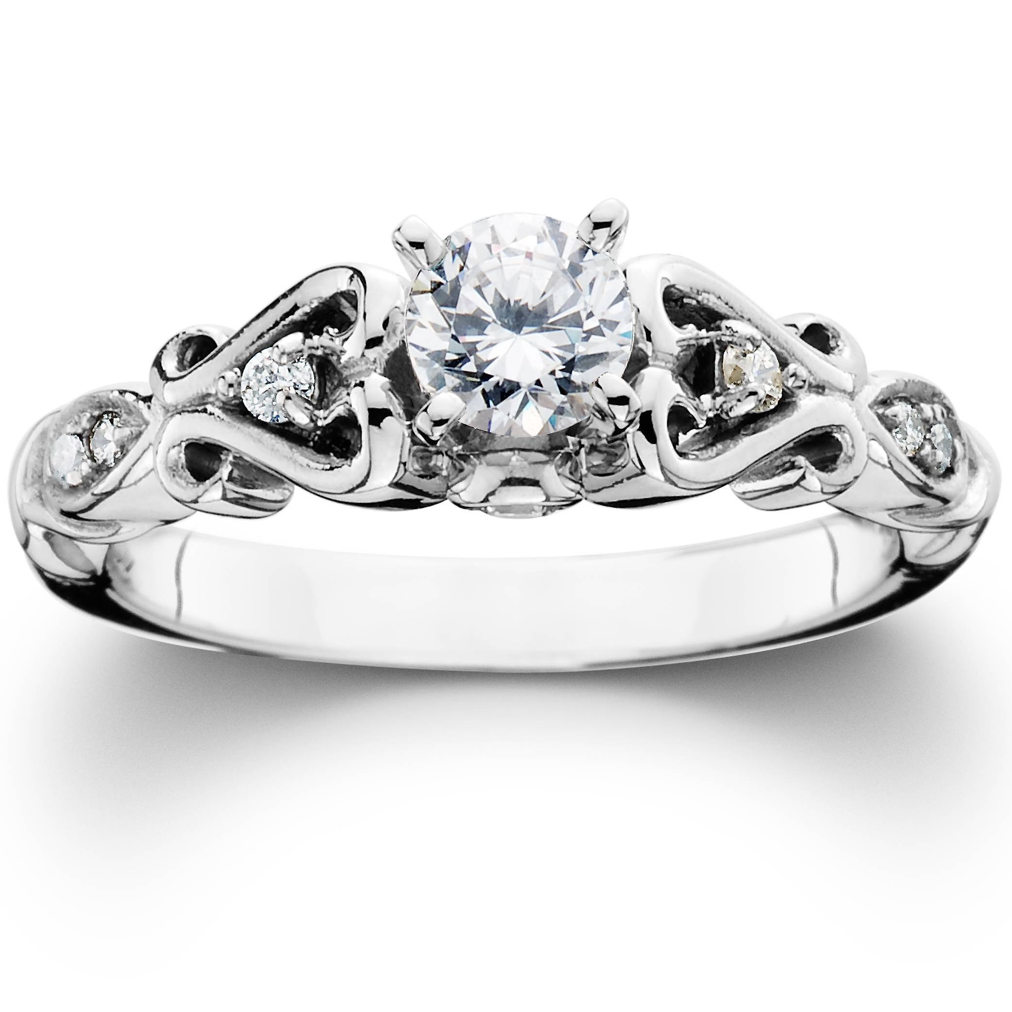 3 8ct Diament Vintage Pierścionek Zaręczynowy 14k Białe Złoto Fruugo