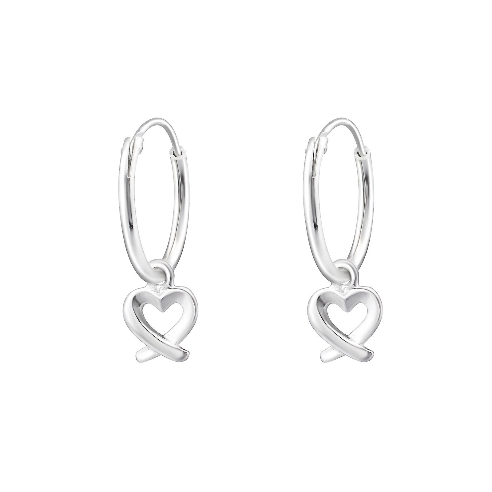 Heart 925 Sterling Silver Ear Hoops W X
