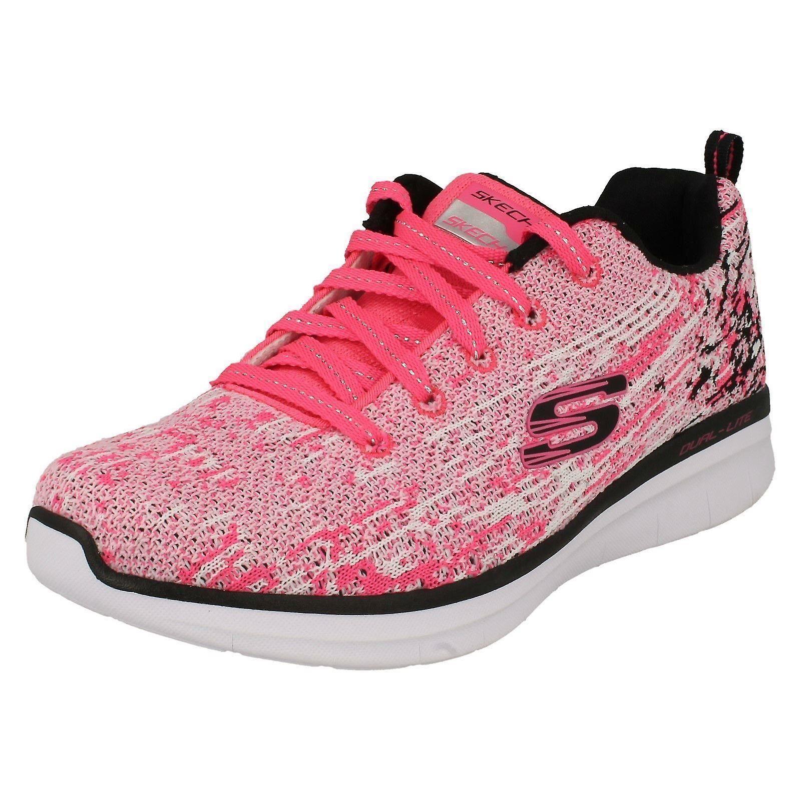 2f40d0c9 Piger Skechers sport undervisere højt humør 81620 - Neon Pink/sort tekstil  - UK størrelse