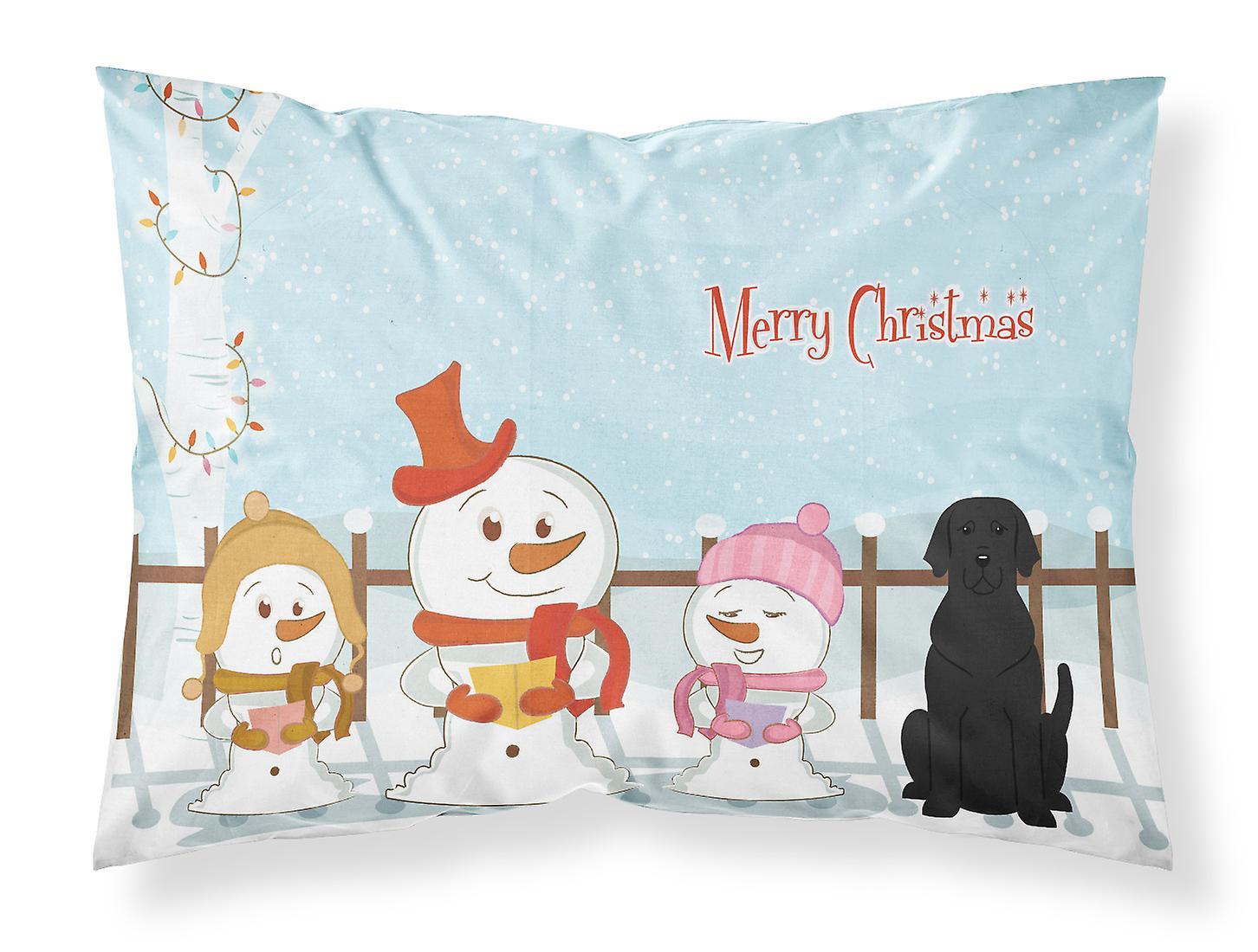 Villancico Feliz Navidad A Todos.Cantantes De Villancicos Feliz Navidad Negro Labrador Tela Funda De Almohada Estandar