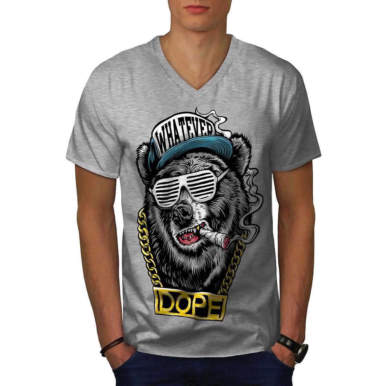 da3774f17232be Kette Swag Bär Mode Männer GreyV-Neck T-shirt