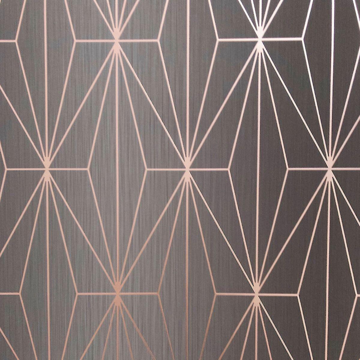 Charcoal Rose Gold Metallic Geometric Wallpaper Triangles Vinyl Muriva Kayla