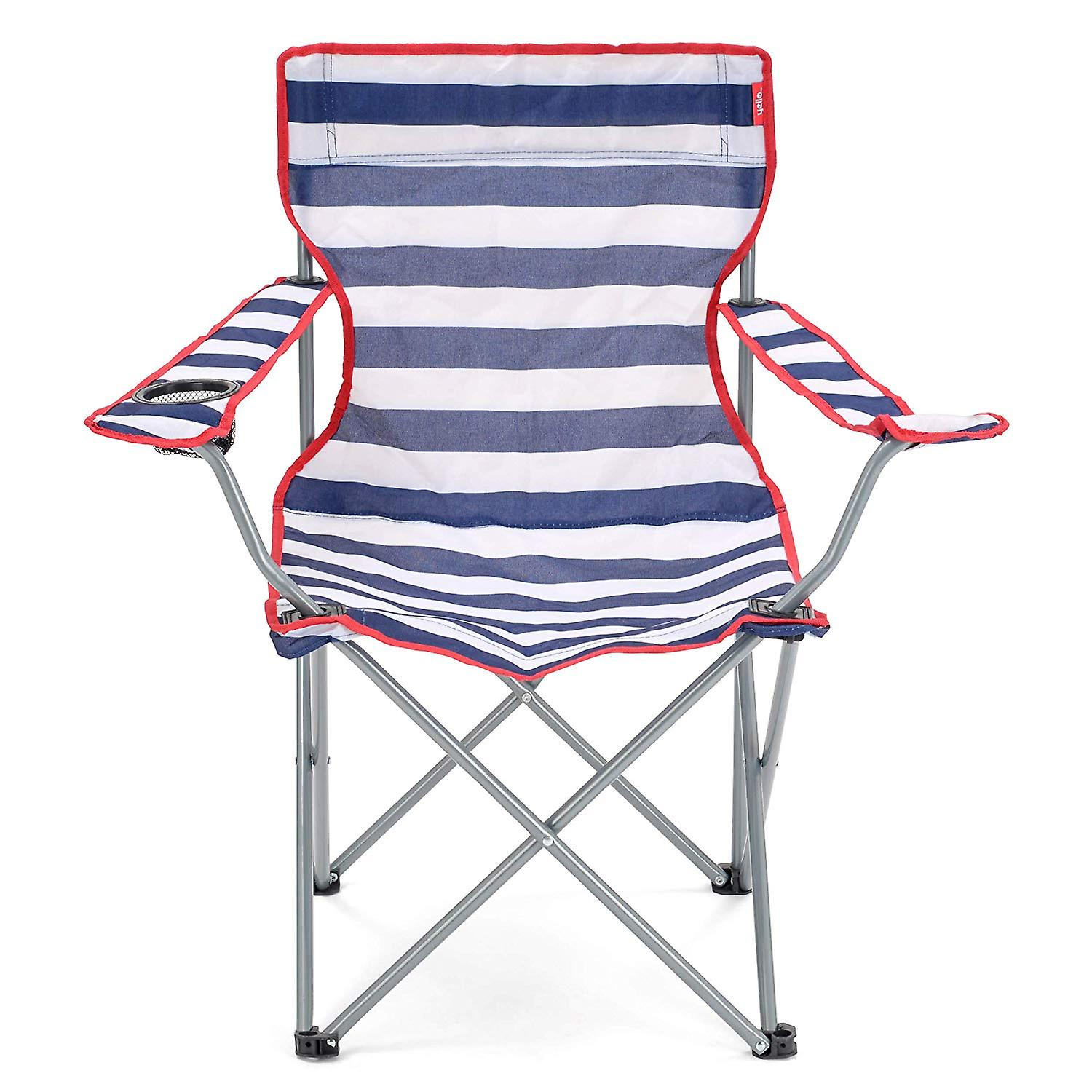 Excellent Yello Folding Beach Chair For Camping Fishing Or Beach Striped Blue White Caraccident5 Cool Chair Designs And Ideas Caraccident5Info