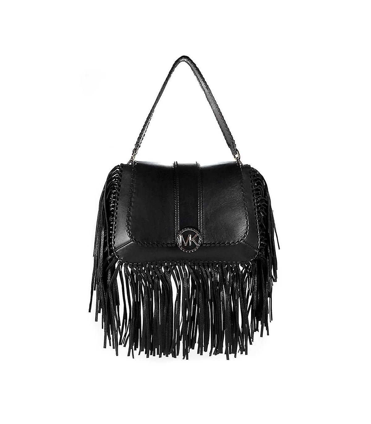 0340653ccde1 MICHAEL KORS BLACK LILLIE MEDIUM FLAP SHOULDER BAG
