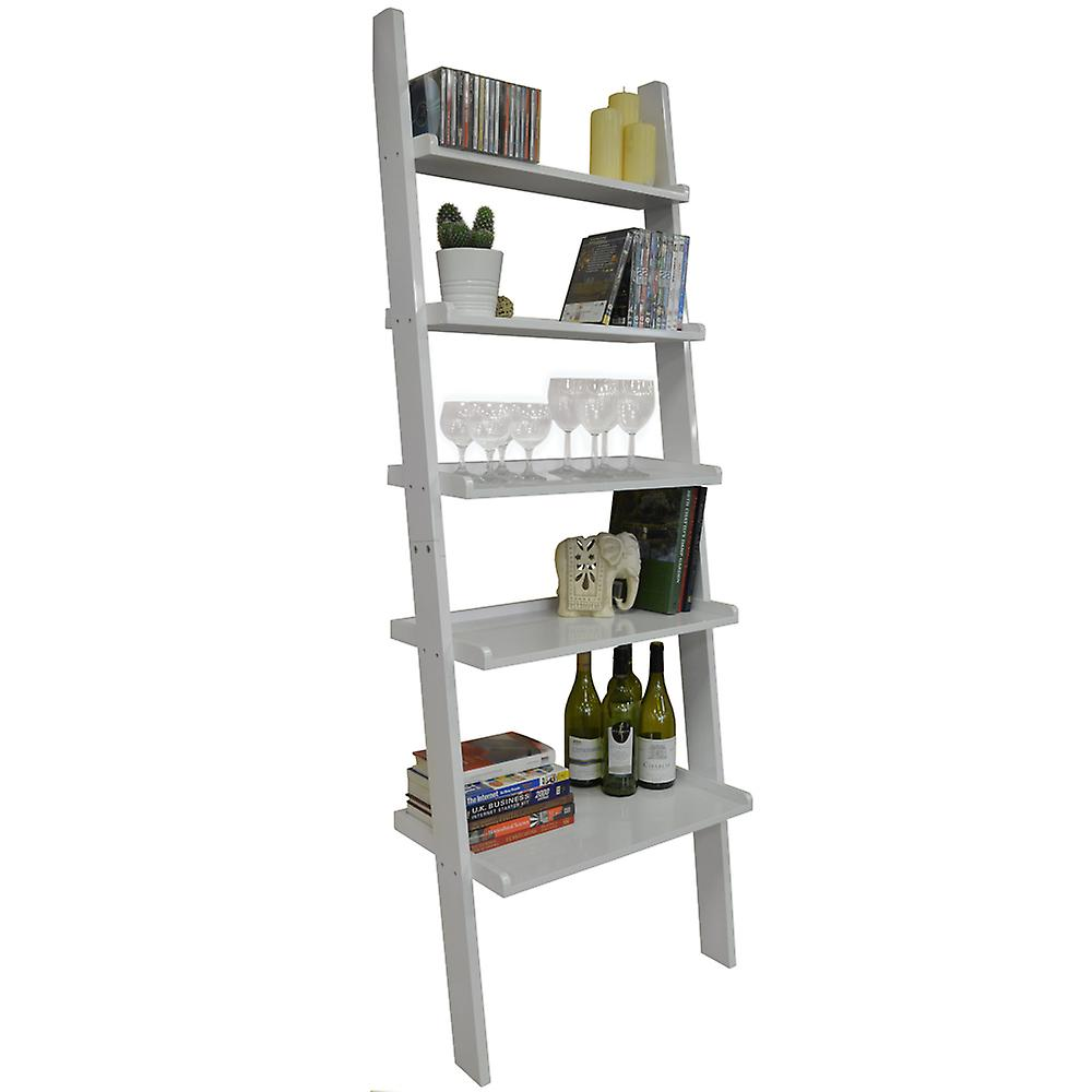 reputable site 9d20e 0df33 Oates - Ladder 5 Tier Wall Leaning Storage Shelves - Gloss White