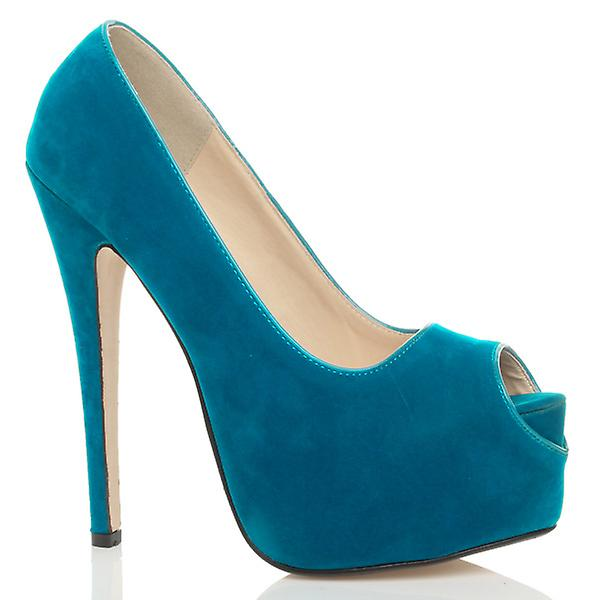 c90860c6cd Ajvani womens high heel platform party peep toe court shoes pumps sandals