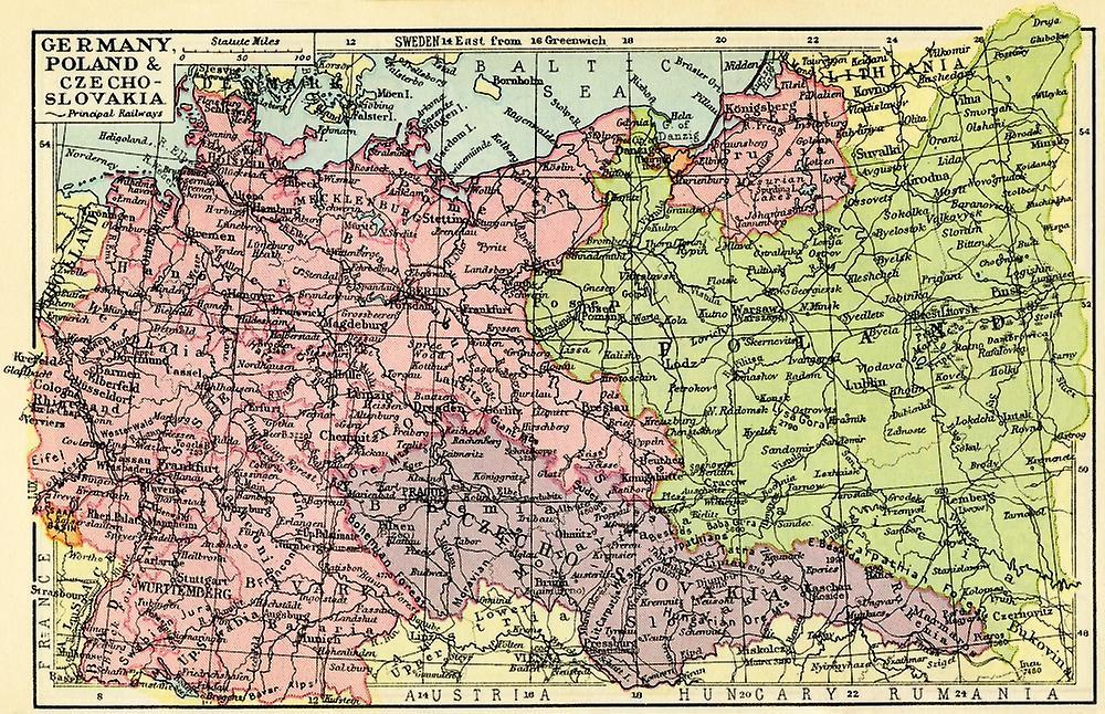 1930 Luvulla Kartta Saksa Puola Ja Tsekkoslovakia Juliste Tulosta