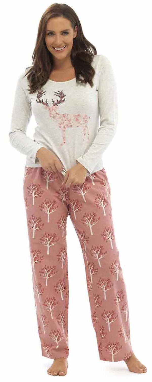 wholesale dealer aa43c d271c Pyjama Damen Foxbury gedruckt Jersey Top lange Pyjama Set Nachtwäsche