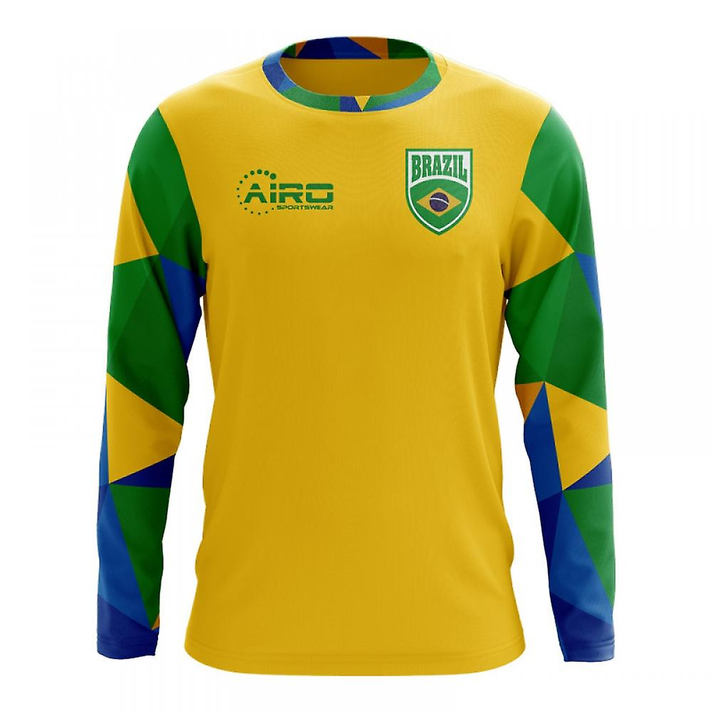 34a719a5f 2018-2019 Brazil Long Sleeve Home Concept Football Shirt   Fruugo