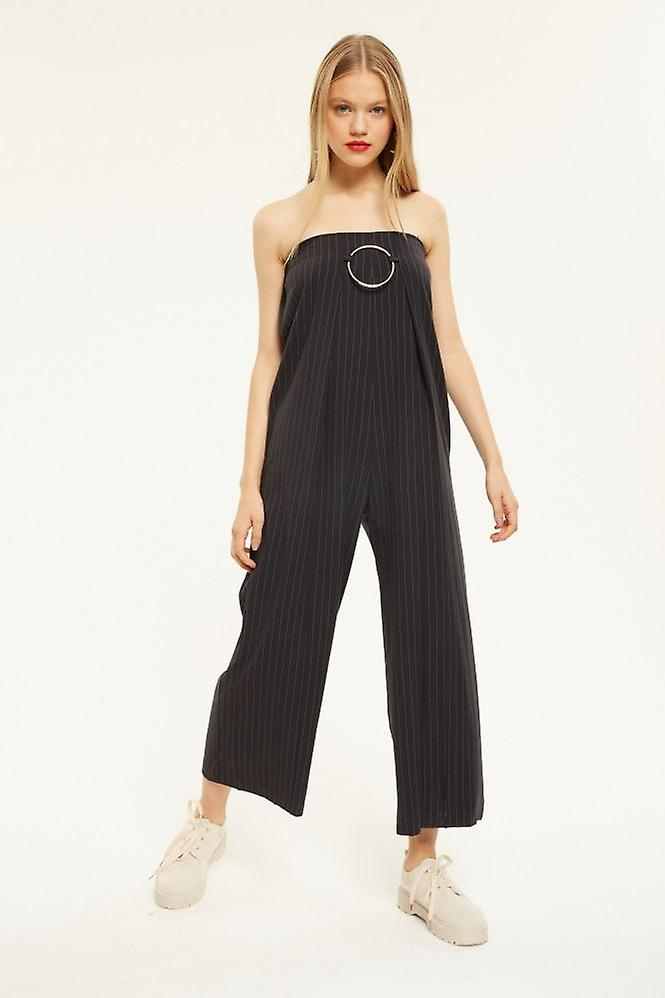 16bc7f419a3 Simonett Strapless Pinstripe Jumpsuit With Buckle Detail