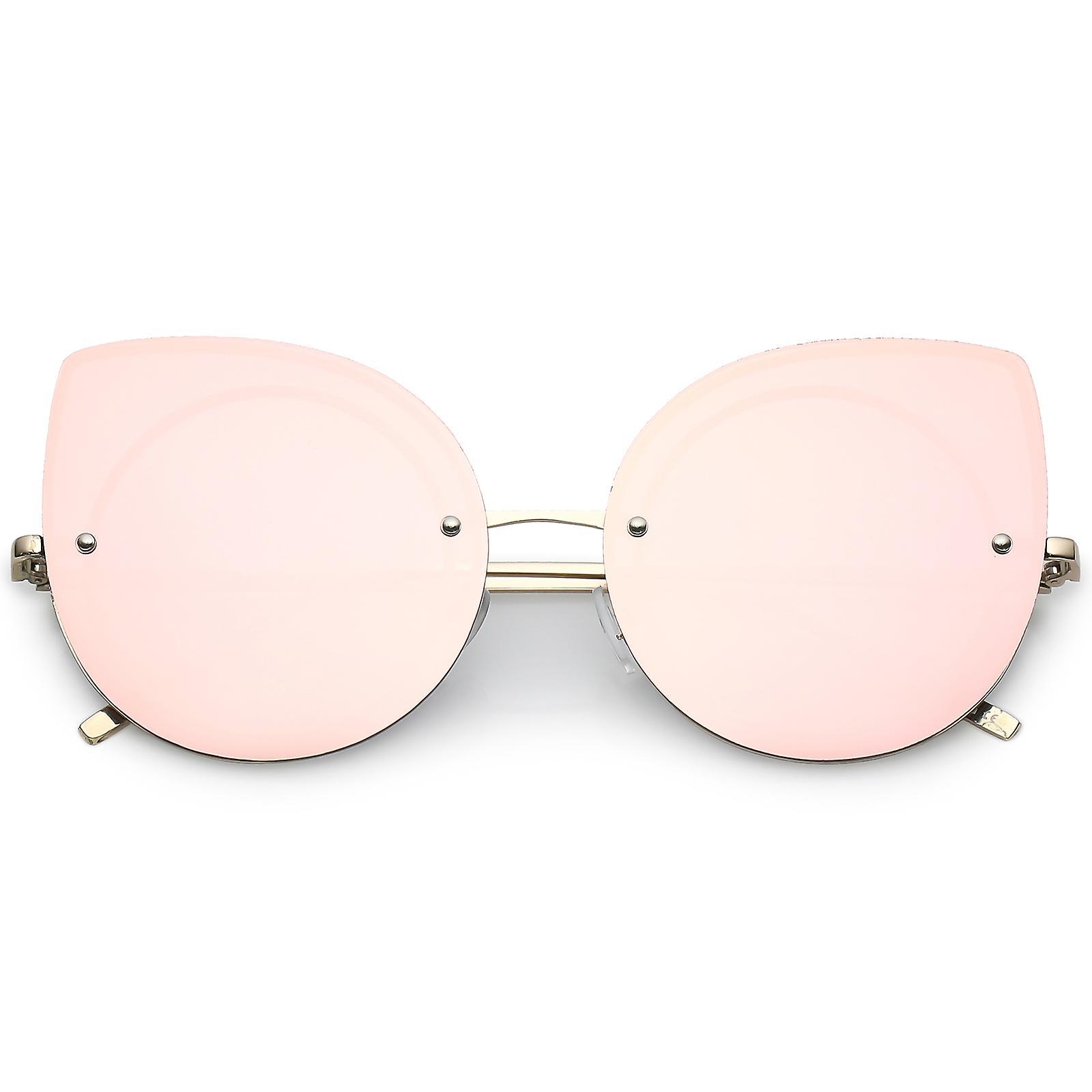 Ultra With Arms Slim Mirrored Lens Oversize Eye 64mm Sunglasses Rimless Cat Flat TkiPXZuO